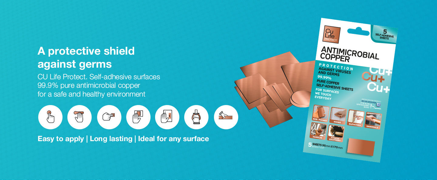 Antimicrobial Copper Adhesive Surfaces - Protection Germs bacteria covid-19